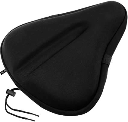 Comfortable Exercise Bike Seat Cover C6 Large Wide Foam & Gel Padded Bicycle Saddle Cushion for Women Men Everyone, Fits Spin, Stationary, Cruiser Bikes, Indoor Cycling, Soft