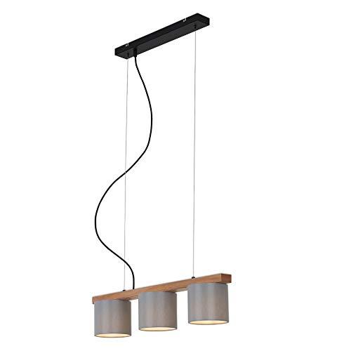 Briloner Leuchten - Pendelleuchte, Pendellampe 3-flammig, retro, vintage, höhenverstellbar, 3x E14, max. 25 Watt, Metall-Holz inkl. graue Stoffschirme, 650x150x1360mm (LxBxH)