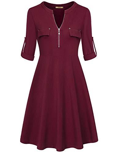 Miusey Long Sleeve Dress for Women,Petite Women Midi 3/4 Zip V Neck Business Casual Knee Length Fit and Flare Fall Sweatshrits Tunic Dresses Elegant Church Wear Wine Red S