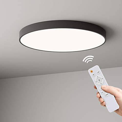 Anten Noir Plafonnier LED Dimmable Ultra-Mince 24W Lampe de Plafond avec Télécommande IP40 Lampe Plafonnier Couleur Température Réglable LED Plafonnier pour Salon, Salle Bain, Couloir, Chambre, Balcon