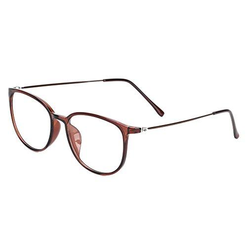 Retro Brille ohne stärke Student Slim-Brille Damen Herren Nerdbrille Linsen Brillenfassung clear lens Dekobrillen modisch rund Streberbrille Strahlenschutz lesebrille für Computer PC mit Brillenetui