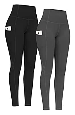PHISOCKAT 2 Pack High Waist Yoga Pants with Pockets, Tummy Control Yoga Pants for Women, Workout 4 Way Stretch Yoga Leggings (Black+Gray, Small)