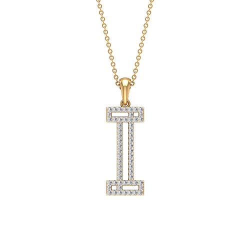 I Alphabet Initiale Halskette, HI-SI 0,35 ct Diamant Name Buchstabe Halskette, personalisierter Braut-Anhänger, zierlicher Statement-Anhänger, Arbeitskleidung Halskette,10K Gelbes Gold Ohne Kette