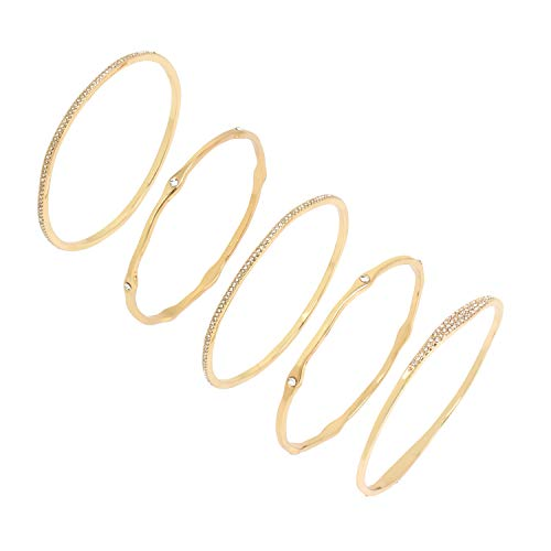 Jessica Simpson Pave Mixed Bangle Bracelet Set