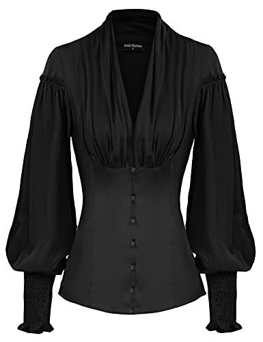 Damen Slim T-Shirt Langarm Vintage Oberteile mit V-Ausschnitt Festlich Gothic Bluse M Schwarz#79