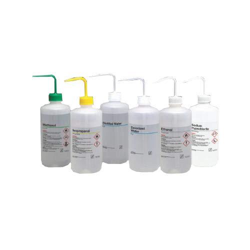 Nalge Nunc 2428-0504 LDPE Sicherheits-Waschflasche, Isopropanol, 500 ml Fassungsvermögen, gelber Verschluss (24 Stück)