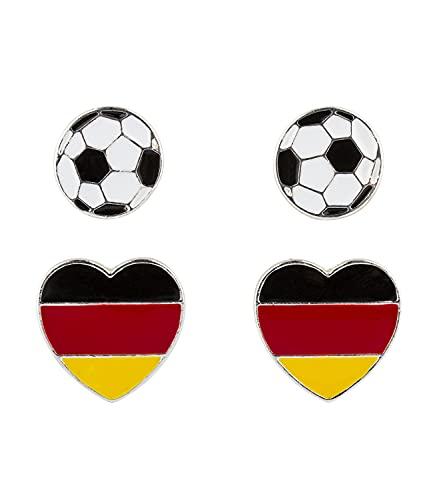 SIX Deutschland Ohrschmuck-Set, Fußball, Herzen, Fanartikel, Accessoire zur Europmeisterschaft, Nationalelf, Rot Schwarz Gold (608-046)