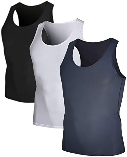 DEVOPS Men's 3 Pack Sleeveless Athletic Cool Dry Compression Muscle Tank Top (Large, Black/Charcoal/White)