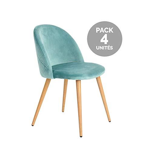 Icons Corner Pack de 4 Sillas de Terciopelo Verde Renard
