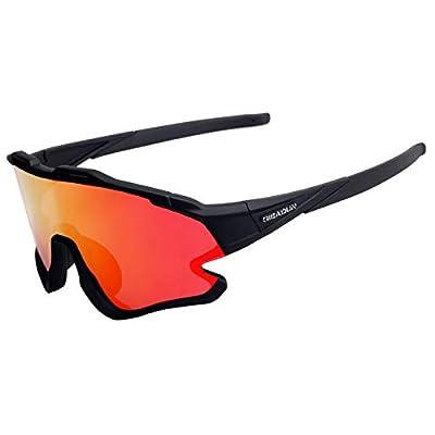 Cycling Glasses Sports Sunglasses Polarized UV400 3 lenses Protection Baseball Ski Running (All black)