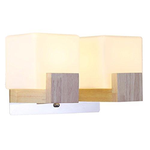 Wandverlichting-QFF massief houten wandlamp, binnenwandlamp plank wandlamp hotel woonkamer nacht gang slaapkamer studie E27 warm licht