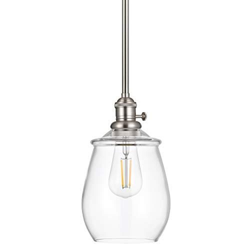 Arenza Farmhouse Hanging Pendant Light   Brushed Nickel Pendant Lighting for Kitchen Island LL-P636-1BN