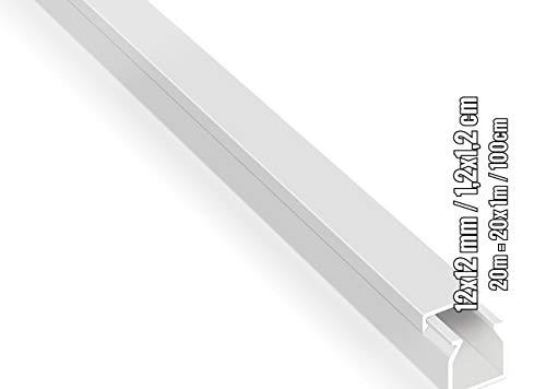 20m Kabelkanäle Selbstklebend Weiß (12x12 mm / 20x 1m) - Kabelkanal mit Schaumklebeband fertig für die Montage