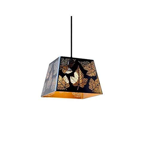 MADBLR7 Lámpara de araña, estilo pastoral, negro, dorado, retro, hueco, colgante, luz, loft, lámpara, tallado, hoja de arce, hierro, lámpara colgante, E27, dormitorio, comedor, lámpara colgante vintag