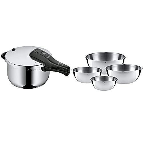 WMF Perfect Pentola A Pressione, 4.5 L, Inox 18/10, Argento & 0645709990 Set 4 Ciotole Da Cucina In Acciaio Inox 18/10 Cromargan