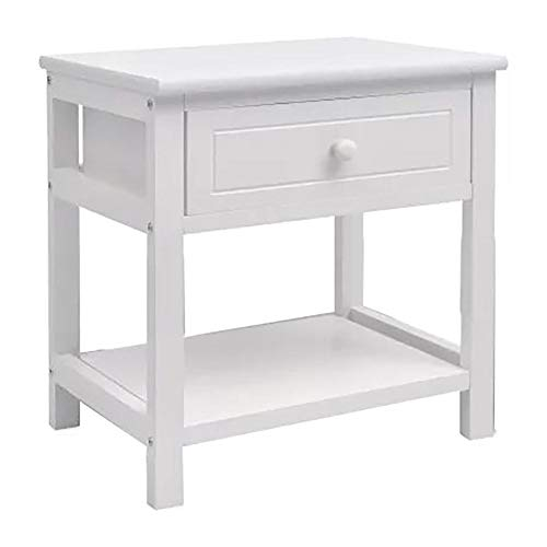 Cikonielf White Bedside Table with 1 Drawer and Open Storage Compartment Wooden Side Table for Hallway Bedroom Living Room, 40 x 29 x 42 cm