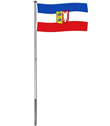 Brubaker Aluminium Fahnenmast Flaggenmast 6 m inklusive Deutschland Flagge + Schleswig-Holstein Flagge 150 x 90 cm und Bodenhülse