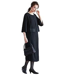 [nissen(ニッセン)] 喪服 礼服 フォーマル ワンピース 前開き アンサンブル風 夏 接触冷感 レディース 大きいサイズ 黒 4L