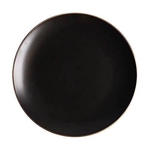 XUSHEN-HU Plato de cerámica para fregar occidental, plato de frutas Phnom Pan Platter Nordic Creative Vajilla Negro 10 pulgadas Vintage