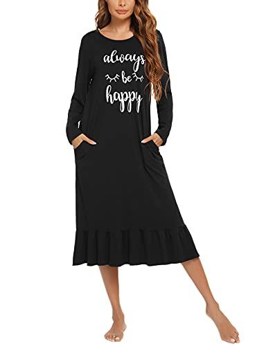 Chemises de Nuit Longue Femme Coton T Shirt de Nuit Long Manches Longues Robe de Nuit Longue Pyjama Casual Col Rond Top Confortable
