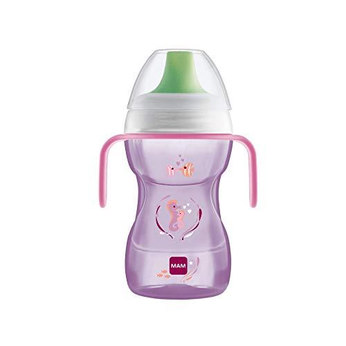 MAM Vaso Fun to Drink D121 - Vaso de Aprendizaje con Boquilla y Tapa para Bebés a partir de 8 meses 270ml - Rosa