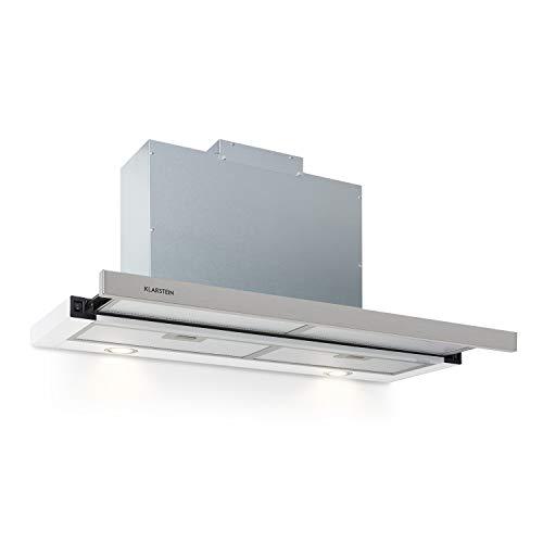 Klarstein Mariana - Flachschirmhaube, EEK C, Umluft & Abluft, LED-Beleuchtung, Drucktasten, Unterbau-Dunstabzugshaube, 500 m³/h, 90cm,weiß