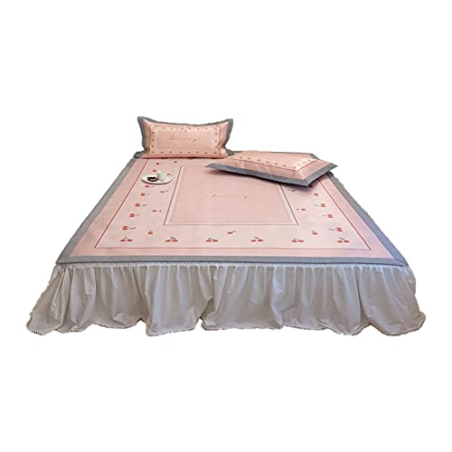HBIN Estera de Seda de Hielo de Tres Piezas en Verano, Cereza Lavable Aire Acondicionado Suave tapete de Seda de Hielo (Color : Pink, Size : 1.5m Bed)
