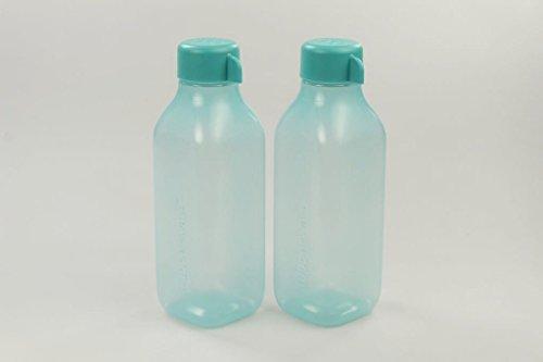 TUPPERWARE To Go Eco 500 ml turquoise (2) EcoEasy fles vierkant 30903