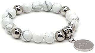 Pulsera con charm personalizable, Gemas naturales color blanco y acero inoxidable.