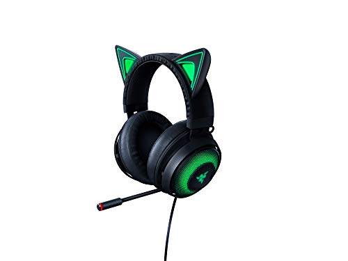 Razer Kraken Kitty - Gaming Headset (Das Katzenohren-Headset mit anpassbarer RGB Chroma-Beleuchtung, Mikrofon mit aktiver Rauschunterdrückung, Bedienelemente an der Ohrmuschel) schwarz
