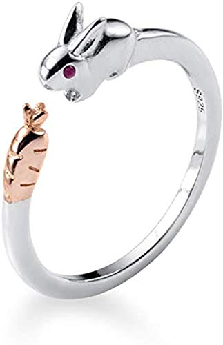 Cute Rabbit Sterling Silver Statement Rings for Women Girls Adjustable Open Animal Stacking Eternity Ring Finger Engagement Wedding Band Jewelry Gifts