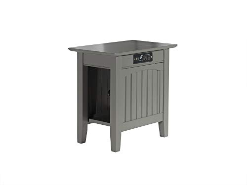 Atlantic Furniture Nantucket Chair Side Table with Charging Station, Grey