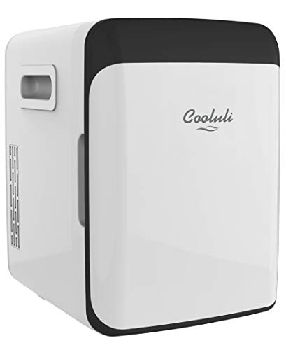 Cooluli Classic White 10 Liter Compact Portable Cooler Warmer Mini Fridge for Bedroom, Office, Dorm, Car - Great for Skincare & Cosmetics (110-240V/12V)