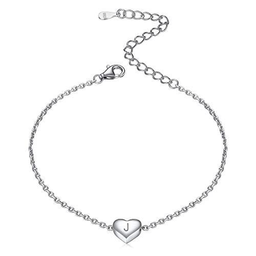 ChicSilver Pulseras para Mujeres Letra J Iniciales Abalorio Corazón Romántica Plata de Ley 925 Chapado en Oro Blanco Accesorios Modernos de Muñecas de Manos