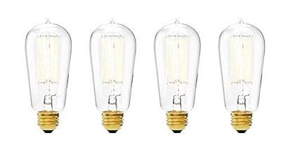 40W Edison Light Bulbs - Clear Glass, 40 Watt, Warm White (2200K), E26 / Medium Base, Old Fashioned Filament, 120V, Teardrop Type ST18, Vintage Style Decorative Incandescent Lightbulb - Set of 4