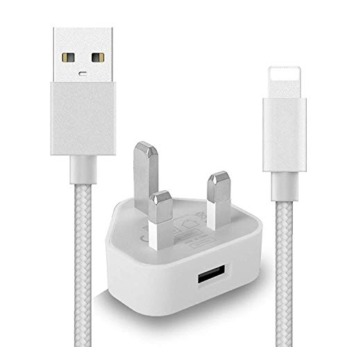IWIO 3 Pin UK Mains Wall Charger & USB Charge Cable Braided 3 Meters 10 Feet for iPhone XS Max/XS/XR/X/8 Plus/8/7 Plus/7 /6s Plus/6s/6 Plus/6/5s/5c/5/iPad Pro/Air/iPad mini 2/iPad 4/nano 7 - SILVER