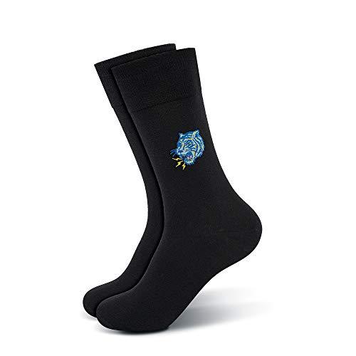 Mofreso Herren Premium Business Socken, schwarz mit edler Stickerei - Catch a Tiger - Baumwolle, fair produziert - Robustes Material, Zehenbereich nahtfrei - 1 Paar - 39-42