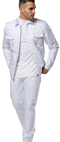 "STACY ADAMS Men's ""Denim Jeans Cut"" Jacket and Jeans Set (XL/36, White)"
