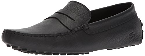 Lacoste mens Concours 118 1 Driving Style Loafer, Black Leather, 10.5 US