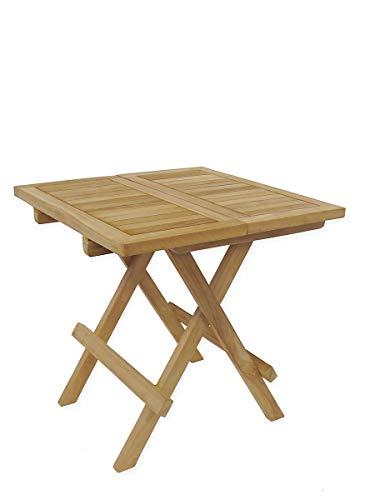 Antike Fundgrube Kleiner Gartentisch klappbar aus Teakholz massiv | Klapptisch Beistelltisch | 50x50x50 cm (9505)