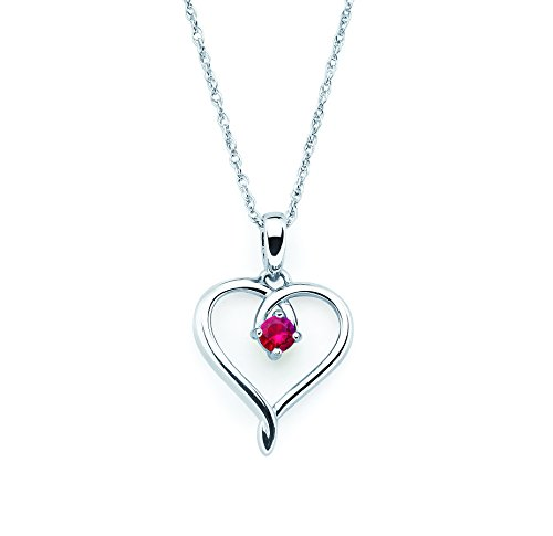 925 Sterling Silver Genuine Ruby July Birthstone Heart Pendant Necklace with 18' Chain