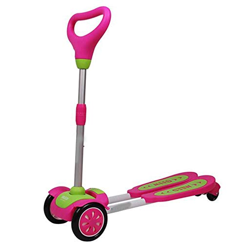 Folding 3-Wheel Scooter Swing Scooter 3 Ruedas Swing Swing Scooter bandado Plegable Tablero para niños y por Encima de los niños y Las niñas autodrifter (Color : Pink)