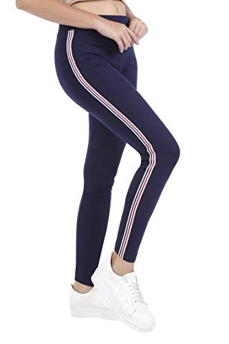 TRASA Cotton Lycra Women's and Girl's Yoga Pant, Sports Pant, Workout Pant Leggings, Navy Blue Strip(Brand Outlet) - Size : - XXX-Large