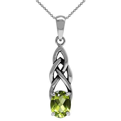 Silvershake 1.32ct. Natural Peridot 925 Sterling Silver Celtic Knot Solitaire Pendant with 18 Inch Chain Necklace
