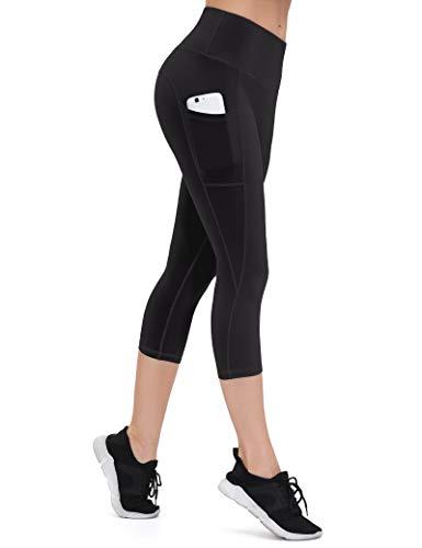 ALONG FIT Leggings Damen mit Taschen, Nicht durchsichtig Sporthose Damen Dehnbar Yogahosen für Damen, 3/4 Capri Schwarz, S