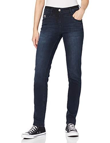 Cecil Damen 373434 Style Toronto in blau-schwarzer Waschung Jeans, Dark Blue Used wash, W33/L32