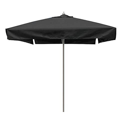 Sombrilla Terraza Parasol Jardin Sombrilla Negra para Patio, Mesa de Mercado de 6.5 Pies Sombrillas Protección UV Cuadrada Pequeña Sunbrella, Costillas de Aluminio Resistentes, para Césped/Jardín /