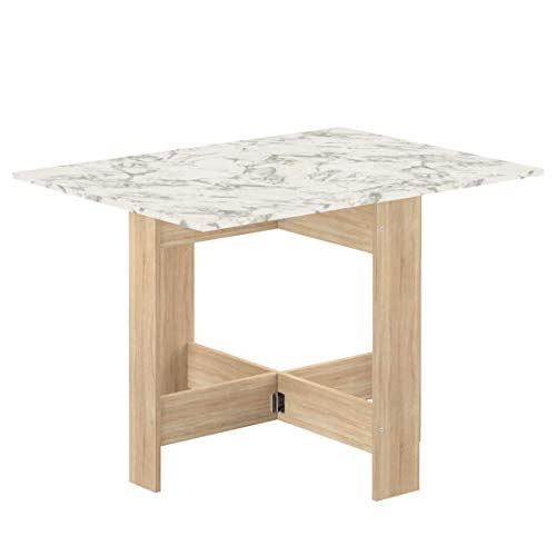 Temahome Mesa plegable contemporánea con 2 solapas plegables,tablero de partículas de melamina, color roble y marmol blanco, 103 x 76 x 73,4 cm