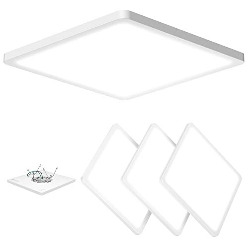 AVANLO Super Slim 0.6 Inch Thickness 12 Inch LED Ceiling Light Fixture, 120V 5000K 1680lm 24W (150W Equivalent), Dimmable, Square, for 3.5-4'' Junction Box, 5-6'' Housing & Surface Mount. 4 Pack