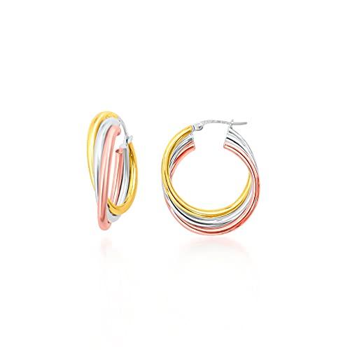 Pendientes de aro con 3 hilos lisos cruzados 24 mm/6 mm, Tricolor 9 KT (375) 2,7 g.